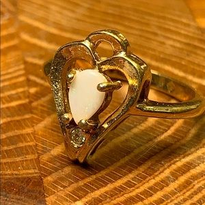 Opal 18k stamped gold ring w/tiny clear stone!